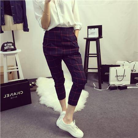 Mssefn2015春夏时装周英伦明星同款风格子高腰显瘦七分裤1399