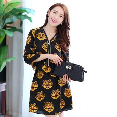Mssefn2015春季韩版修身女装时尚V领虎纹连衣裙女裙1638-9