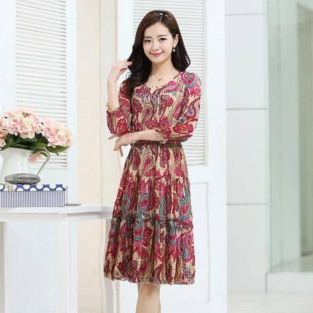 Mssefn2015春季新款时尚甜美印花连衣裙3169-9