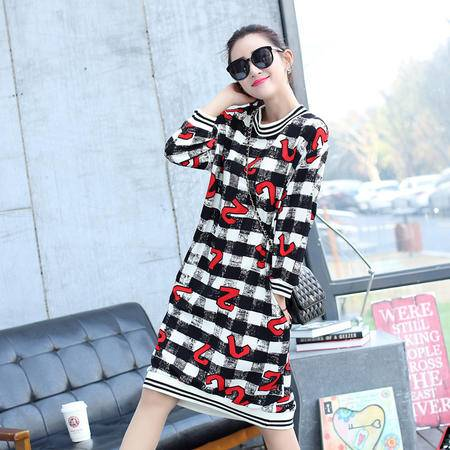 Mssefn2015春季时尚韩版女装长袖中长款连衣裙3180-0
