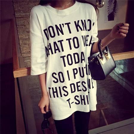 Mssefn2015新款韩国圆领短袖英文字母印花图案T恤女 E3305