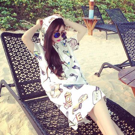 Mssefn2015春夏新款图案长款T恤女韩版前拉链连帽短袖连衣裙132XP8504