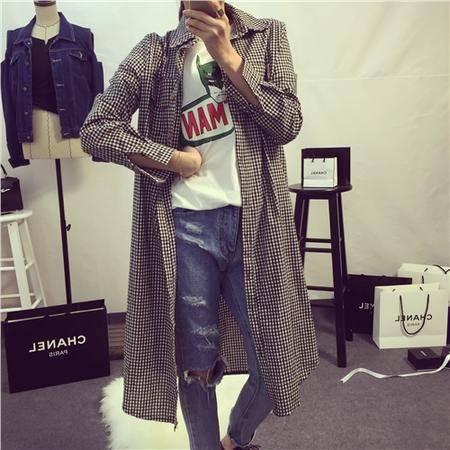 Mssefn2015韩风简约休闲时髦宽松经典小格子衬衫长款外套7402
