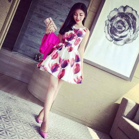 Mssefn2015春季新款欧美大牌复古绚烂花朵无袖高腰连衣裙2403