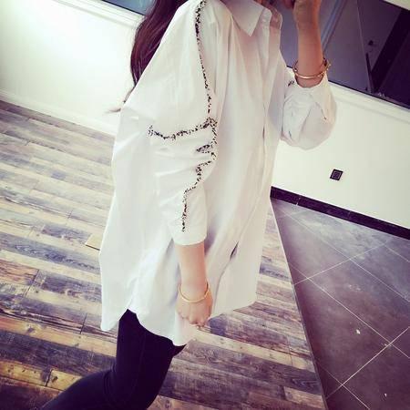 Mssefn2015春装新款 推荐气质风 韩国立体装饰宽松白色衬衣衬衫