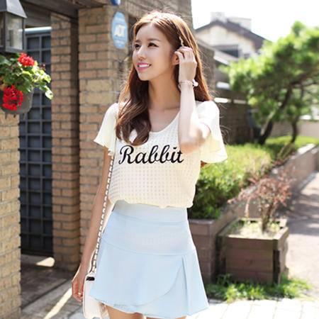Mssefn2015夏季韩版新款雪纺衫字母印花短袖8309-T8805