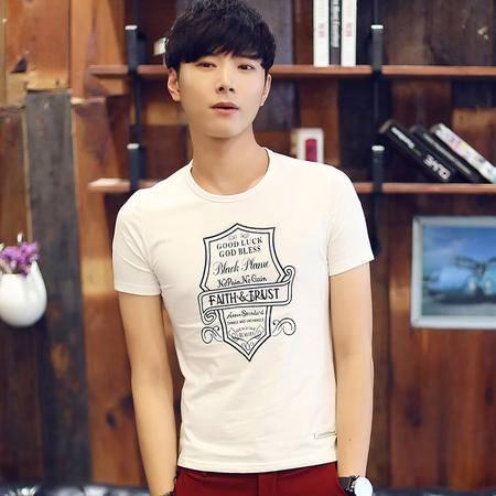 Mssefn2015夏款潮男装短袖 韩版修身个性字母印花圆领短袖T恤T61