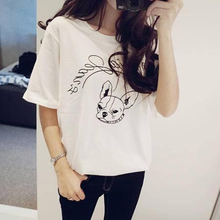 Mssefn2015新款小狗印花短袖T恤8418-1068