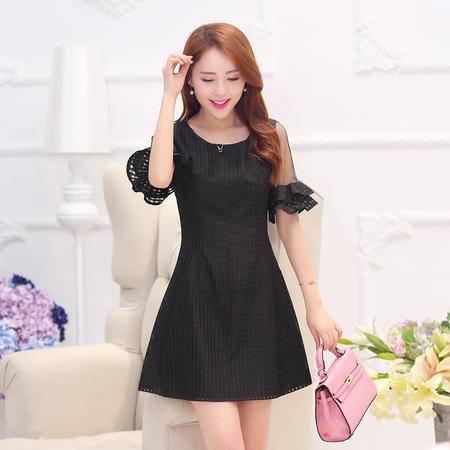 Mssefn2015夏季新款韩版女装时髦薄纱透视短袖连衣裙YADS1525