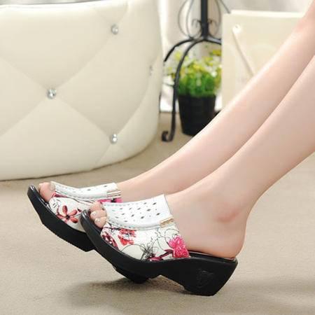 Mssefn2015欧美时尚夏款真皮 牛皮印花 女士坡跟拖鞋WZ10-818