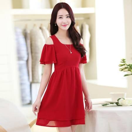 Mssefn2015新款夏装圆领露肩时尚宽松素雅潮韩版短袖雪纺连衣裙AQ057