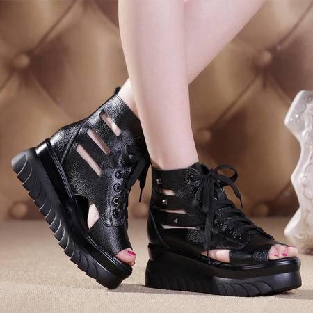 Mssefn2015欧美铆钉 真皮牛皮 坡跟 松糕鞋 摇摇鞋 女凉鞋WZ3-652