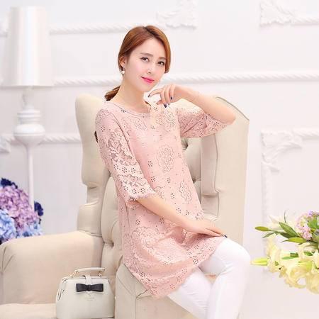 Mssefn2015夏季新品时尚镂空提花中长款五分袖连衣裙女YADS1527