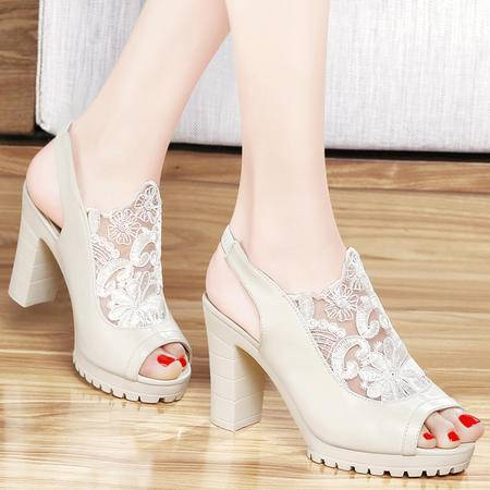 Mssefn2015新品鱼嘴网纱女鞋 粗跟 高跟鞋 蕾丝女凉鞋子 DS12-1032