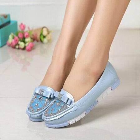 Mssefn2015新品水钻平底单鞋 学生鞋 孕妇 驾车时尚休闲鞋WZ4-129