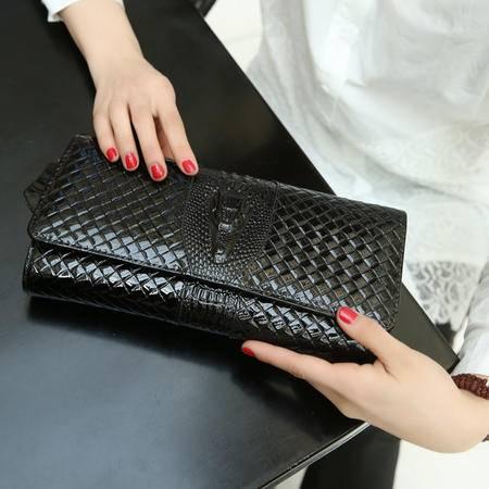 Mssefn2015新款漆皮牛皮女款信封包斜跨女包女士手包潮鳄鱼纹手抓包