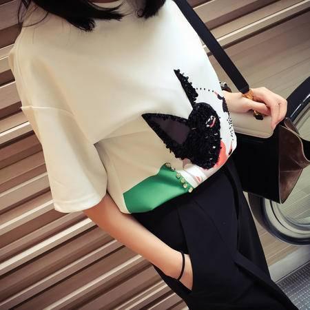 Mssefn2015春装新款韩版宽松印花俏皮斗牛犬T恤TX642
