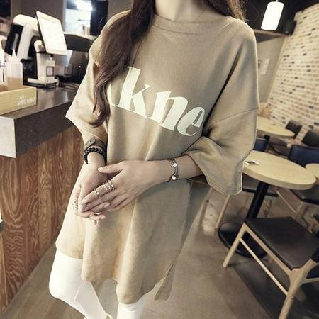 Mssefn2015夏装韩国宽松字母侧开衩纯棉T恤8309-T8803