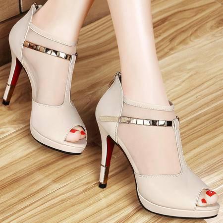Mssefn2015夏新品 鱼嘴网纱鞋 细跟高跟女鞋DS12-1036