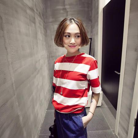 Mssefn2015春装新款女装韩系海军风粗条纹宽松短袖T恤