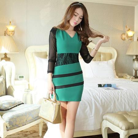 Mssefn2015春 韩版潮流女装蕾丝袖修身显瘦包臂V领连衣裙拼接YSH102