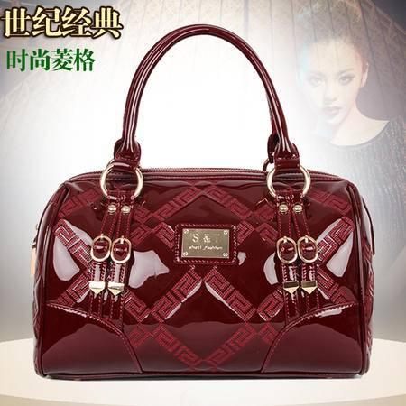 Mssefn新款韩版复古绣色时尚手提包牛皮女包88176