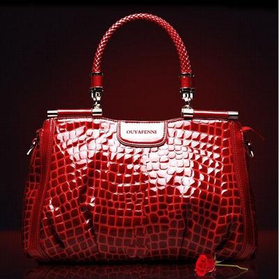 Mssefn2015新品时尚女包欧美潮流鳄鱼纹漆皮手提包包7003
