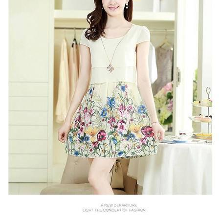 Mssefn2015夏季新款甜美印花雪纺连衣裙 短袖小清新A字裙