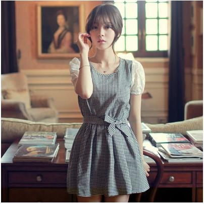 Mssefn2015夏装蕾丝袖短袖格子连衣裙女229