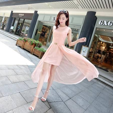 Mssefn2015时尚韩版个性两件套百褶短裙可拆卸 修身连衣裙女夏115