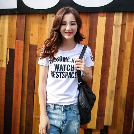 Mssefn2015夏季新款韩版字母圆领短袖T恤 时尚休闲半袖女装A327-1-T13