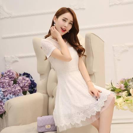 Mssefn2015夏季新款韩版修身蕾丝短袖连衣裙QTYSLY7817