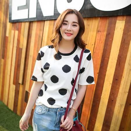 Mssefn2015韩国ulzzang大波点短袖夏装休闲女装短袖T恤A327-1-T31