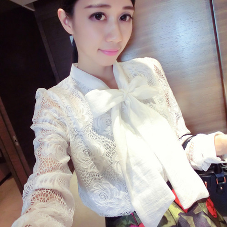 Mssefn2015新款蝴蝶结蕾丝镂空花白衬衫 潮流韩国甜美气质潮8518-XC17