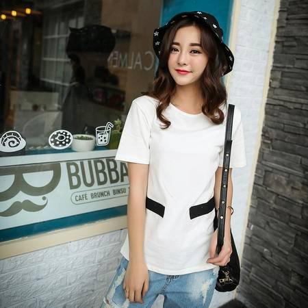 Mssefn2015夏装休闲韩国ulzzang布条粘贴女装短袖T恤 A327-1-T42