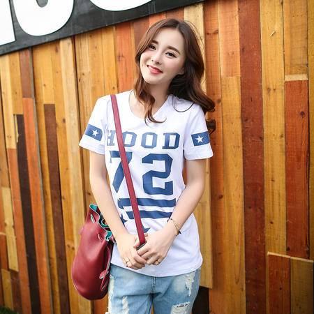 Mssefn2015新款72数字印花短袖夏季新韩版女装休闲T恤衫A327-1-T12