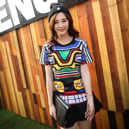 Mssefn2015韩国ulzzang彩色印花潮短袖T恤夏季新女装休闲半袖A327-1-T25
