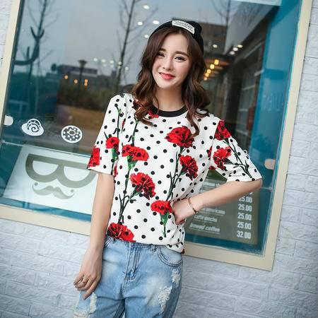 Mssefn2015韩国ulzzang玫瑰印花短袖夏季时尚女装短袖T恤A327-1-T36