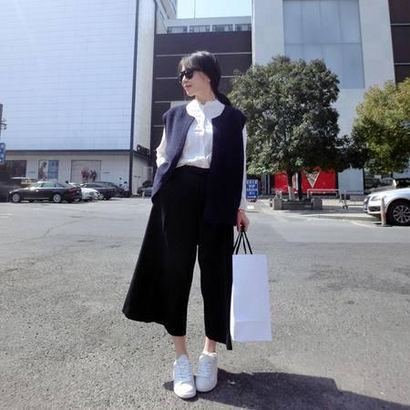 Mssefn2015新款韩国简约阔腿裤休闲裤8201A-AK07