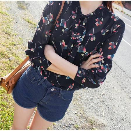 Mssefn2015新款樱花蝴蝶结长袖衬衫8106-c59