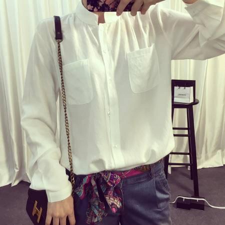 Mssefn2015韩国款舒适大牌好质感简约气质双口袋棉麻衬衫2456