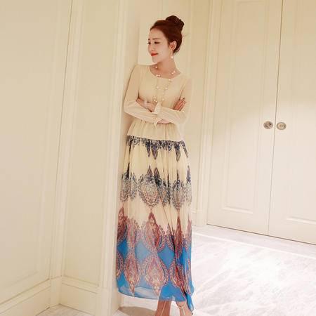 Mssefn2015春装新款韩版气质甜美韩版波西米亚风长裙g123