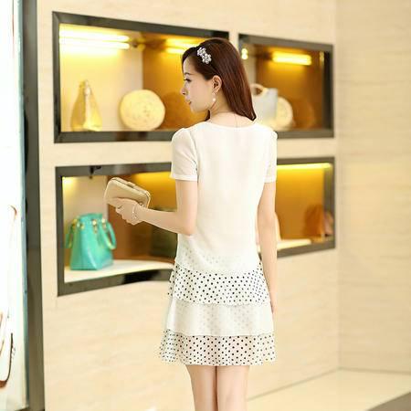 Mssefn2015夏装新款韩版女装 清新甜美拼接波点圆领雪纺修身连衣裙884