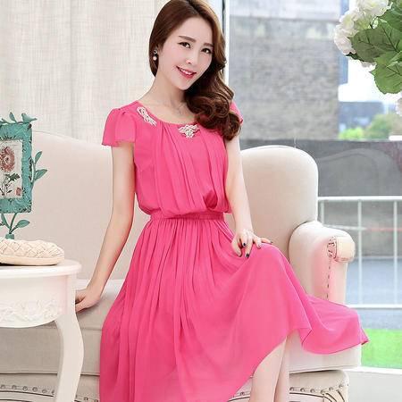 Mssefn2015新款女装韩版甜美雪纺连衣裙QEGRS6619