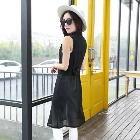 Mssefn2015韩版时尚外套 百搭中长款拼接雪纺无袖外套女 潮1000
