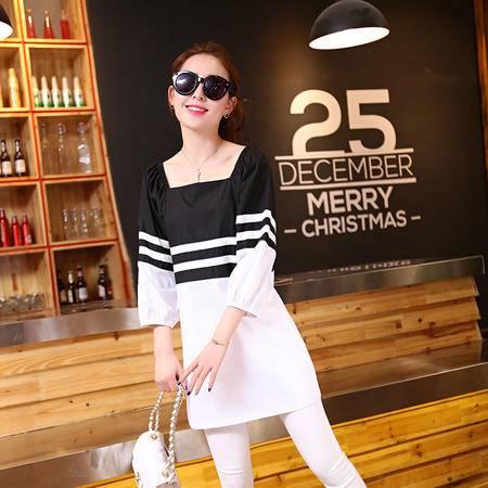 Mssefn2015夏装新款 韩版时尚清新女装百搭上衣拼接色七分袖T恤1309