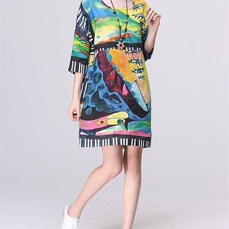 Mssefn2015新款女装时尚花色棉麻连衣裙1524