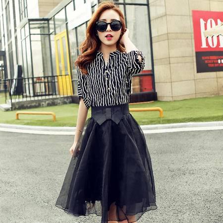 Mssefn2015夏季新款韩版修身显瘦条纹两件套蝴蝶结连衣裙女YNS5521
