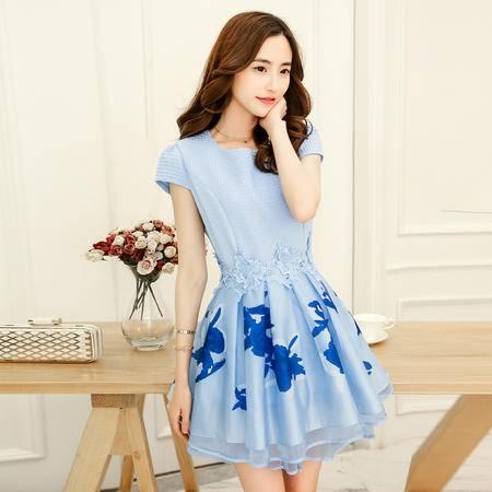 Mssefn2015夏装新款女装韩版修身印花蓬蓬连衣裙QDTZL15806