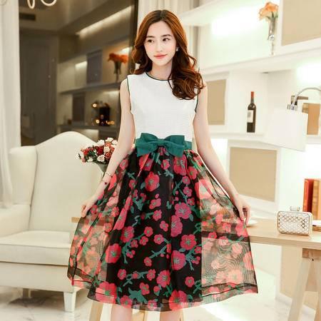 Mssefn2015新款时尚女装韩版修身蝴蝶结印花连衣裙QATZL15809